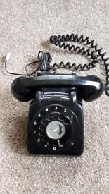Rotary Phone Rotary Dial Telephone Vintage Black - Tested