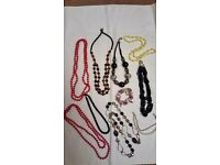 Bead necklaces x 8, bead bracelets x 2, selection