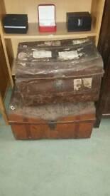 Vintage metal trunks