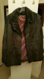 Genuine Rabbit Fur Coat Size 16