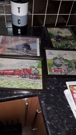 4 hand embroidered train pictures