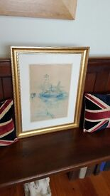Victor Noble Rainbird watercolour painting of North Shields fishquay