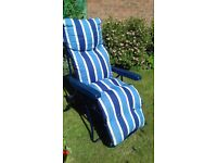 2 relaxing folding garden chairs 1 still in wrapper.