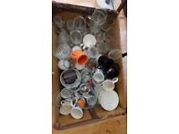 Various kitchen items. glasses, mugs, bowls etc