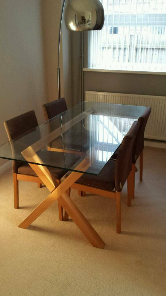 Habitat Dublin 6 Seater Oak Amp Glass Dining Table In