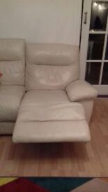 Real leather electric recliner sofa