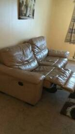 White leather recliner sofa