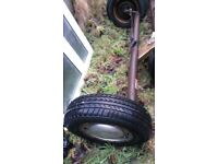 2 complete axle 4 stud wheels tyres i sale full axle or parts