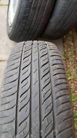 """Two bmw mini 15"""" alloys wheels with tyres"""