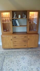 ERCOL Windsor Sideboard with illuminated glass display cabinets on top