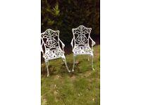 Pair Cast Aluminium garden chairs , white .