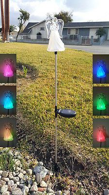 Acrylic Angel with A Frosted Skirt Solar Light Color Change LED