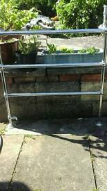 Antique Art Deco Chrome silver bathroom radiator towel rail with connecting pipe.