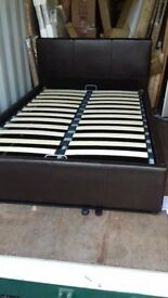 brown faux leather small double ottoman bed brand new boxed