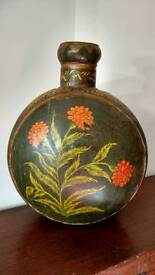 Rare Antique Hand Painted Floral Vase (metal)