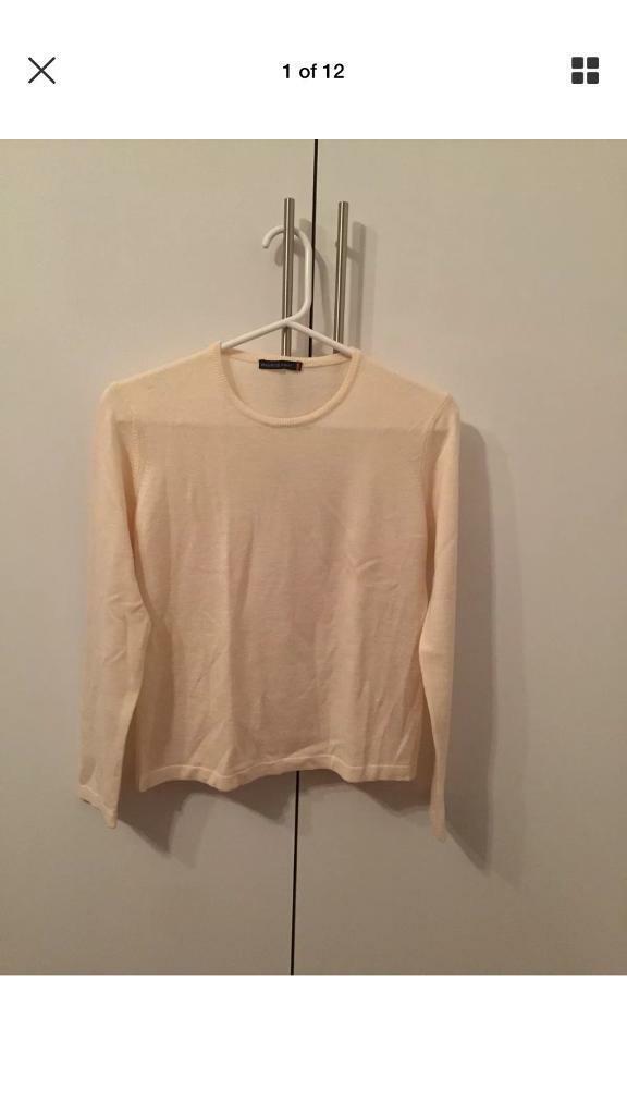 54aad1eebab Cream Maurice Abot Wool Sweater Medium. Golders Green ...
