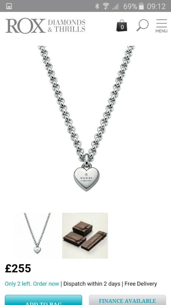 New Silver Gucci Heart Pendant Necklace