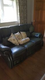 2 and 3 seater green leather sofas