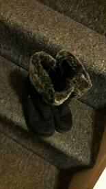 Two pairs of boots black size 4 grey size 5