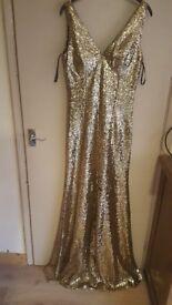 Gorgeous gold sequins formal dress
