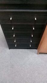 NEW Alban 5 Drawer Chest In either Black, Oak Effect or White