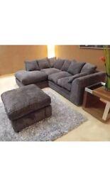 Jumbo cord corner sofa and footstool