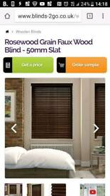 Rosewood Grain Faux Wood Blind - 50mm Slat