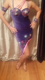 Stunning Purple velvet JUNIOR LATIN DRESS, beaded with diamantes and embelishments