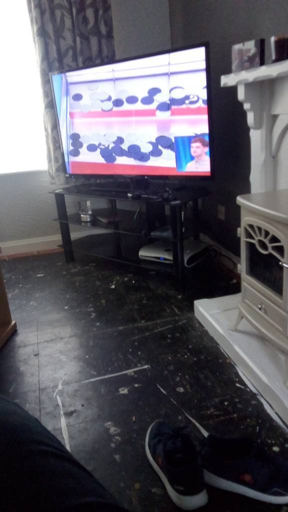 Glass television stand set of drawers