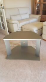 Silver/grey large TV corner stand with glass shelf
