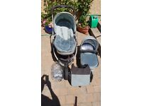 I candy peach jogger all terrain pram and cot with foot muff warmer, bag and rain cover