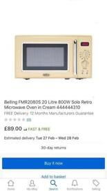 New ex display Belling FMR2080S 20 Litre Microwave - Cream £35 price