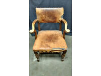 A Leather Antique Carver Chair - in need of some Help and TLC