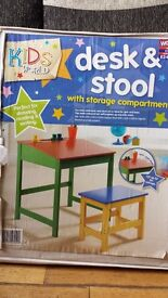 Childrens desk and stool