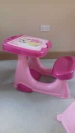 Disney princess table and seat and bouncy zebra