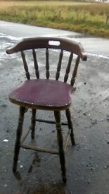 Character oozing vintage oak bar stool