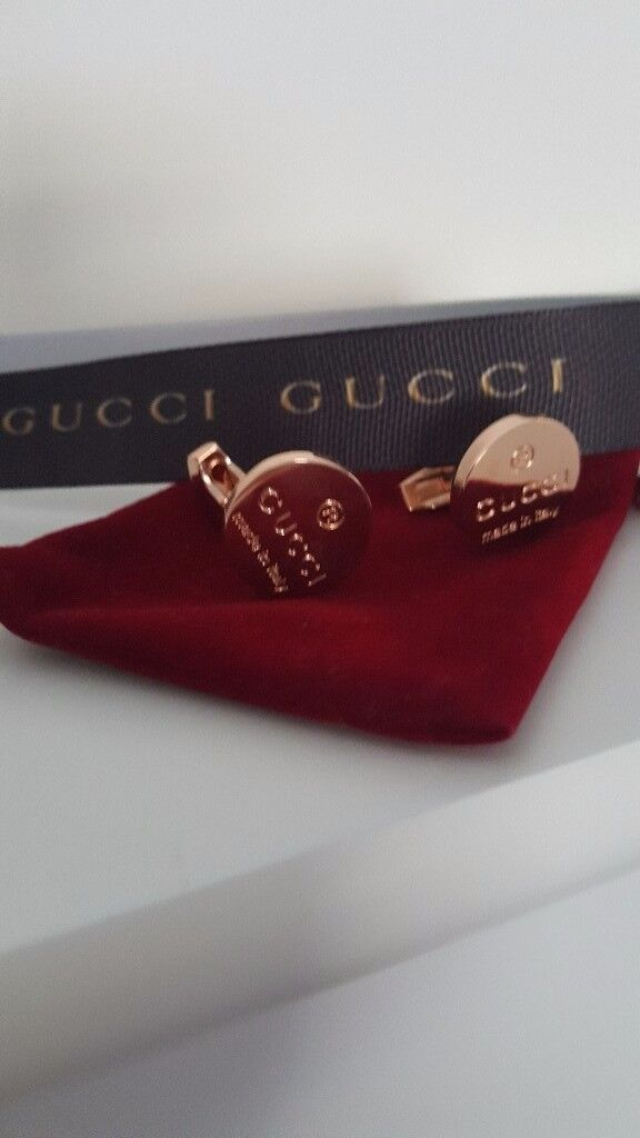 MEN GUCCI CUFFLINKS ROSE GOLD BRAND NEW