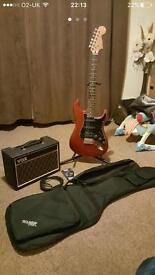 Stratocaster guitar with VOX pathfinder amp, bag and lead