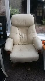 Comfy leather lounge chair with foot stool