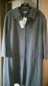 ladies grey pure wool coat size 30 brand new.