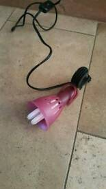 pink clip on plug in lamp