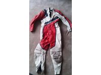 """One-piece motorcycle leathers, 42"""" Fieldsheer red white & blue"""