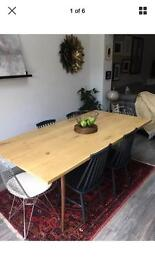 Scandi retro bespoke Made solid oak dining table