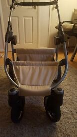 Cream 3 in 1 pram suitable from birth come with car seat carrycot and seating unit