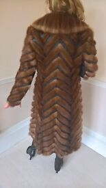 Leather and Mink full length coat Size 8