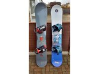 Two Snowboards for sale, complete with bindings, ready to hit the piste!