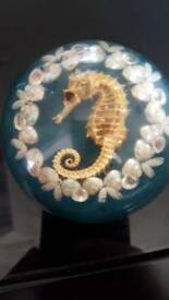 Paperweight with sea horse