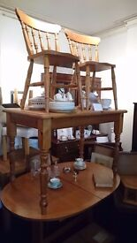 Solid Antique Pine Kitchen table & 2 Chairs