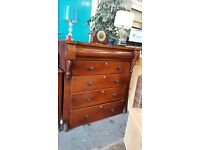 Large brown scotch chest of four drawers