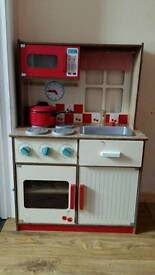 Wooden play kitchen& guitar clock&